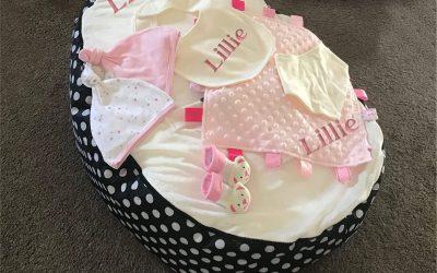 Personalised Baby Bean Bag Gift Set (7 Gifts!)