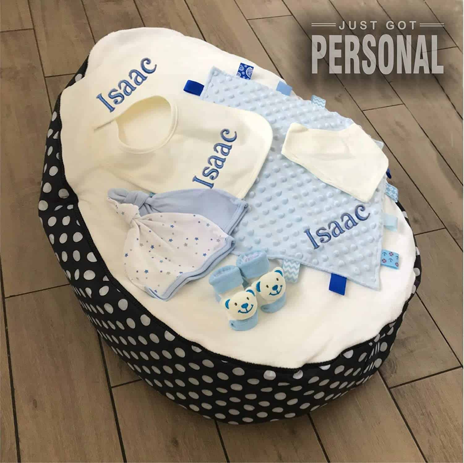 personalised baby bean bag gift set